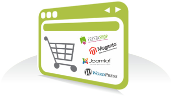 Image of a shopping cart with a internet logo inside
